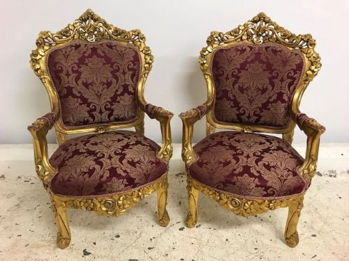 Impressive Pair of Antique  French Armchairs - Gilded Detail - b64
